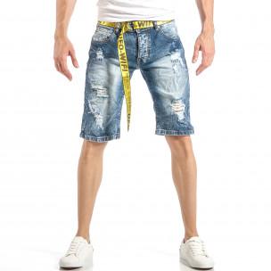 Изтъркани мъжки къси дънки в синьо с колан