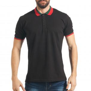 Мъжка черна тениска с двуцветна яка