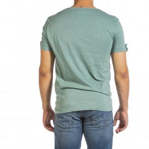 Текстурирана зелена тениска с копчета 2