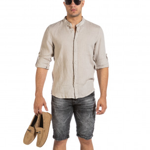 Мъжка бежова ленена риза с яка столче