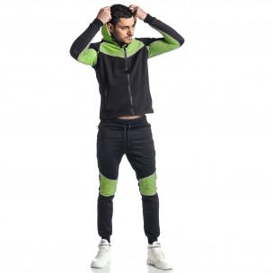Мъжки черно-зелен анцуг Biker style  2
