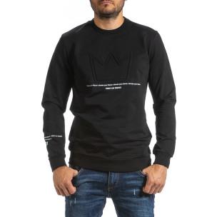 Мъжка черна блуза с релефен принт