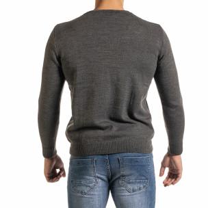 Мъжки фин сив пуловер с връзки RNT23 2