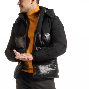 Черно лъскаво яке с контраст  2