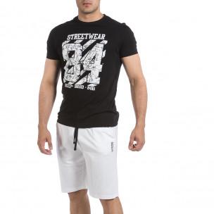 Мъжки комплект Streetwear в черно и бяло