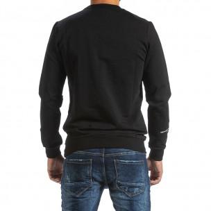 Мъжка черна блуза с релефен принт  2