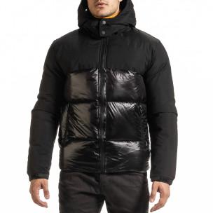 Черно лъскаво яке с контраст