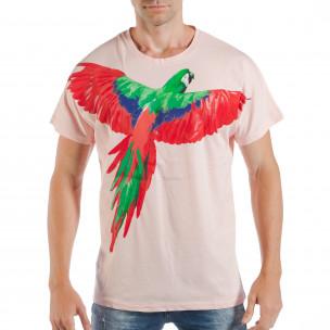 Розова мъжка тениска с релефен папагал
