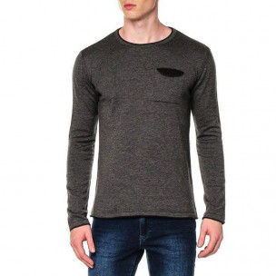 Мъжки фин пуловер с джоб сив меланж