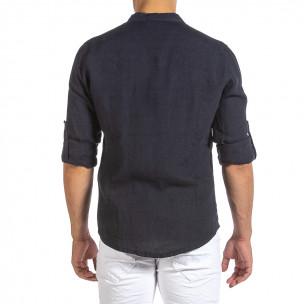 Мъжка тъмносиня ленена риза с яка столче 2
