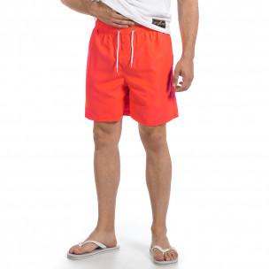 Мъжки неоново оранжев бански изчистен модел  2