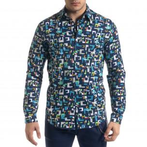 Slim fit мъжка риза геометричен десен  2