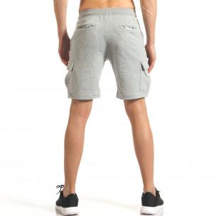 Мъжки сиви шорти с джобове на крачолите  2