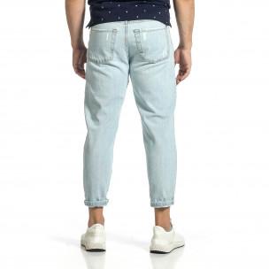 Loose fit мъжки сини дънки с прокъсвания 2