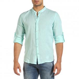 Мъжка ленена риза цвят мента