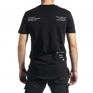 Мъжка черна тениска с декоративен шев 2