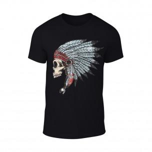 Мъжка черна тениска Indian