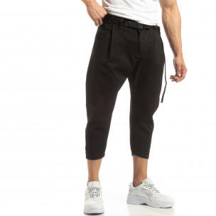 Cropped мъжки черен панталон брич стил