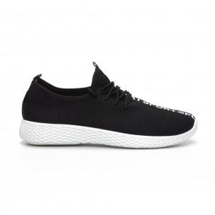 Мъжки текстилни спортни обувки в черно  2