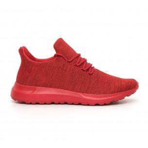 Мъжки маратонки червен меланж с декорация
