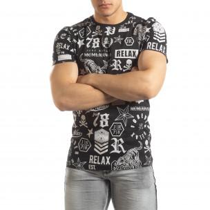 Мъжка черна тениска със символи