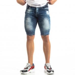 Мъжки къси дънки Slim-fit в синьо с прокъсвания