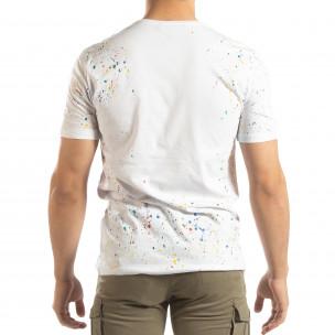 Бяла мъжка тениска с пръски боя  2