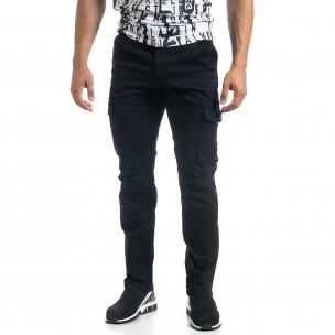Мъжки черен карго панталон с прави крачоли  2