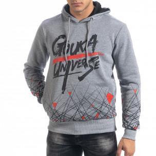Сив мъжки суичър hoodie с принт