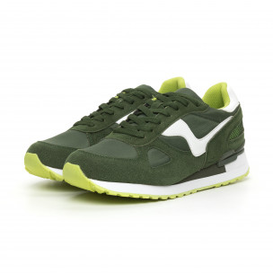 Комбинирани мъжки маратонки в зелени нюанси 2