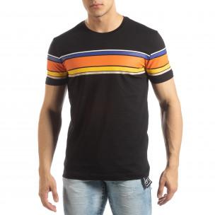 Мъжка черна тениска с цветни райета