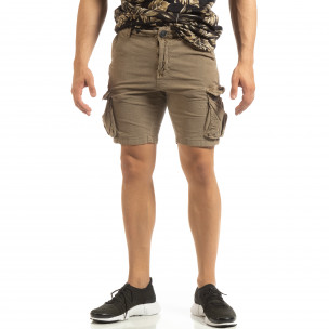 Slim fit къси карго панталони в бежово