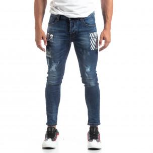 Сини мъжки прокъсани дънки с принт  2