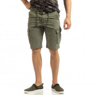Мъжки зелени карго бермуди с ластик на колана  2