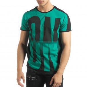 Зелена мъжка тениска ON/OFF с преливане