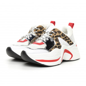 Дамски обемни маратонки бяло и леопард 2