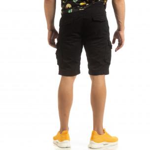 Мъжки черни карго бермуди с ластик на колана  2
