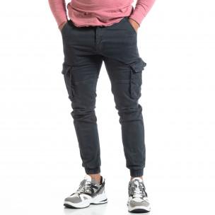 Сив мъжки карго панталон с ластични маншети  2