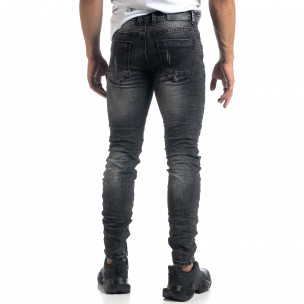 Изтъркани мъжки сиви дънки с прокъсвания Slim fit  2