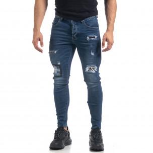 Еластични мъжки сини дънки с акцентни кръпки