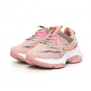 Chunky дамски розови маратонки с акценти MIX  2