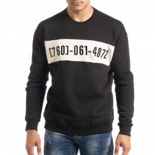 Ватирана блуза тип суичър в черно