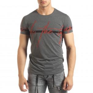 Мъжка тениска с принт в сив меланж
