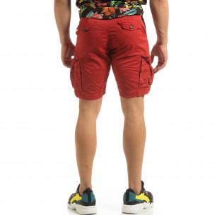 Къси карго панталони в червено с детайл  2