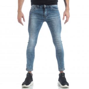 Мъжки Skinny Washed Jeans в синьо  2