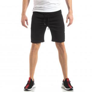 Черни мъжки шорти с ивици  2