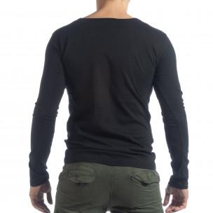 Мъжка блуза Vintage стил в черно  2