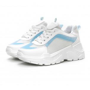 Дамски Chunky маратонки в бяло и синьо  2