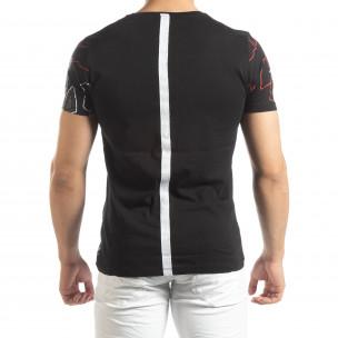 Мъжка тениска в черно с лента на гърба  2