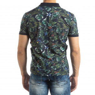 Флорална мъжка тениска с яка в черно 2